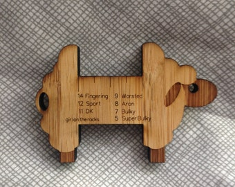 Sheep wraps per inch Gauge - WPI - Spinner control card - bamboo