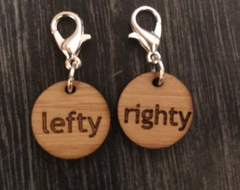 Left and right clasped knitting markers - bamboo - socks, mittens