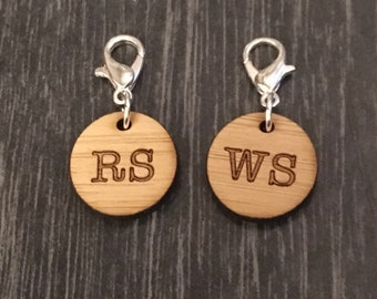 Stitch markers knitting - Right Side and Wrong Side clasped markers bamboo