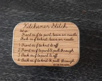 Kitchener Stitch Notions Box - knitting tin - sock knitters notion box