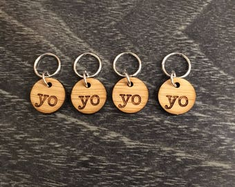 Stitch markers for knitting - Yarn over - Bamboo Increase