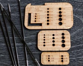 Knitting needle gauges multifunction set of 3