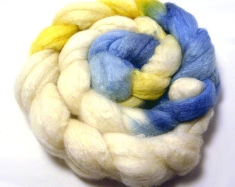 Handdyed BFL Wool/TussahSilk Roving - Blue and Gold - blue, white, yellow, gold
