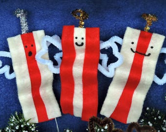 Set of 4 Bacon Angel Ornaments for Carnivores and vegetarians! Two Singing Two smiling Comes w/ ribbon hanger for christmas tree decorating