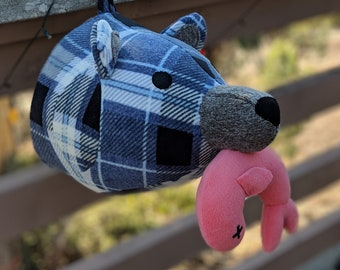 Beary Gibb the Blue Plaid Faux taxidermy plush Bear head with salmon fish in mouth - ready to ship