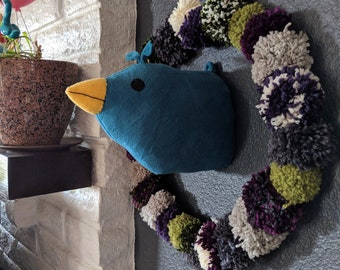 Meryl Cheep the blue bird Faux taxidermy plush head -  ready to ship