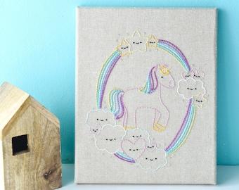 Kawaii Unicorn Dreams PDF Hand Embroidery Pattern