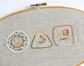 Silly Sushi - Japanese Foods Digital Hand Embroidery Pattern