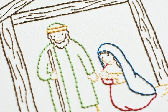 Christmas Stable Drawing.The Stable Christmas Nativity Pdf Embroidery Pattern