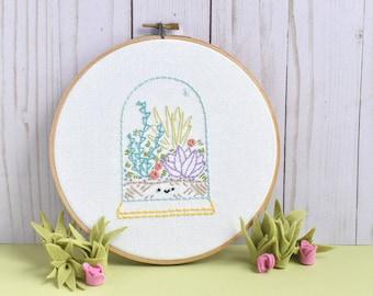 Tiny Terrarium Mini Embroidery Pattern