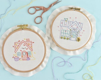 Tiny Houses Through the Year Hand Embroidery Pattern