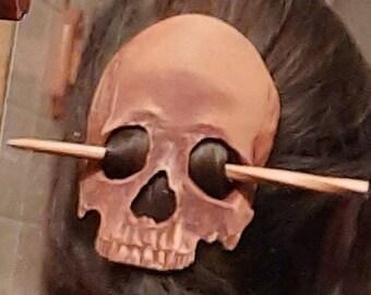 Leather Skull Hair Barrette