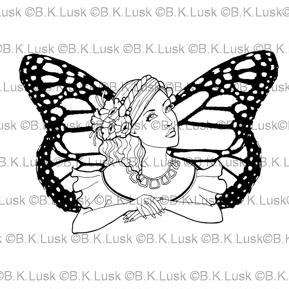 B. K. Lusk Digital Download Digistamp Clipart Butterfly | Etsy