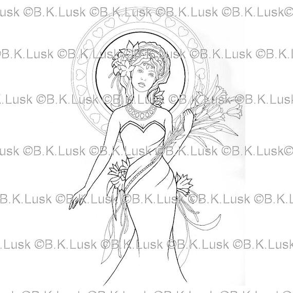 B. K. Lusk descarga Digital Art Nouveau diosa de Digistamp | Etsy