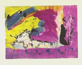 Print study #8 - small print study on somerset printing paper in purple, yellow and grey blue