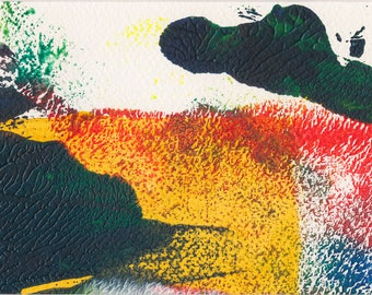 Energy #2 - small monoprint in yellow, orange, red and green