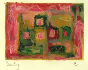 Dandy -  mixed media work - oil pastel over monoprint in red and green