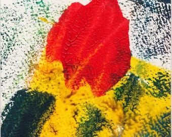 Ripening monoprint intense red, fresh greens and yellows