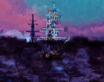 Ghost ships. Open edition digital print of sailing ships at sea in stormy weather