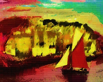 Into Harbour - open edition fauvist style digital print of fishing boat coming into harbour.