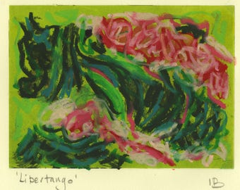 Libertango-  mixed media work - oil pastel over monoprint in pink and green