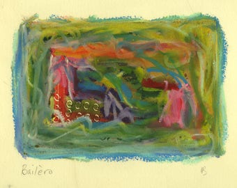 Bailero - small mixed media work - oil pastel over monoprint in green, blue and lilac
