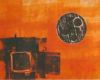 Black Sun  - collagraph monoprint, OOAK print