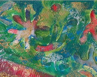 Passion #2 - small mixed media work in green, red, and metallics