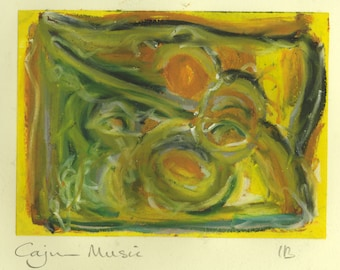 Cajun Music -  mixed media work - oil pastel over monoprint in greens orange and yellow