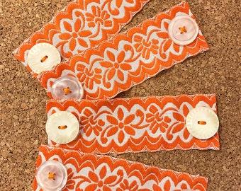 Floral Ribbon Ear Saver • Mask Extender • Orange Vintage Cotton Ribbon & Buttons • Ready to Ship
