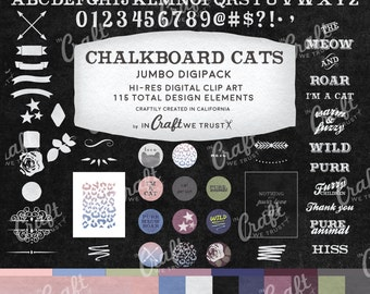 Chalkboard Cats Animal Print Digital Clip Art Digipack Bundle • 115 Total Images • JPG & PNG• Commercial Use Instant Download Design Files