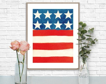 Americana Stars & Stripes Print • Patriotic US American Flag Instant Download • Home Decor Wall Art • Printable Artwork