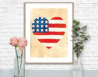 Americana Heart Digital Print • Patriotic US American Flag Instant Download • Home Decor Wall Art • Printable Artwork