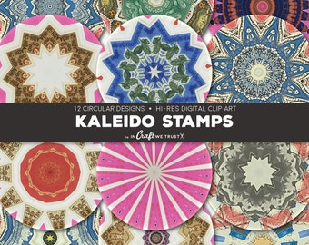 """Kaleido Stamps Digital Collage Sheet Clip Art of 12 Circle Images • 1"""" and 2""""• Commercial Use Instant Download Round Designs • JPG PNG"""