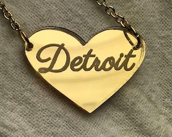 Detroit Heart Gold Mirror Acrylic Necklace