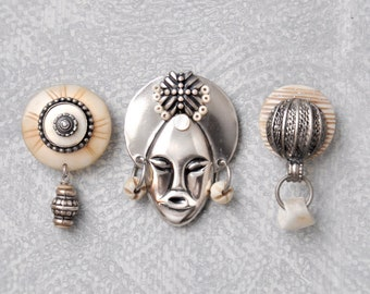 3 Tribal Mask Fridge Magnets -  silver metal and natural bone tribal face refrigerator magnet set - recycled vintage jewelry parts