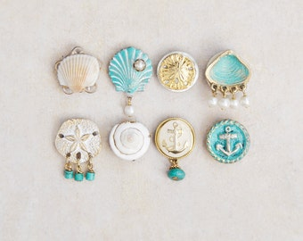 8 Seashell Magnets -  beach lover nautical kitchen decor - recycled jewelry, buttons and real shells