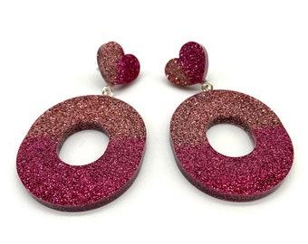 Oval Heart Glitter Statement earrings
