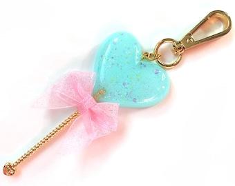 Heart Lollipop Bag Charm Sparkle Aqua