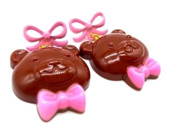 Valentines Chocolate Bear Bow earrings