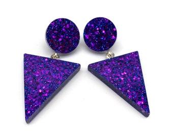 Geometric Triangle Glitter Statement earrings