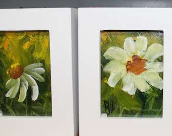 Aceo, 3 Daisy paintings framed, Barbara Haviland