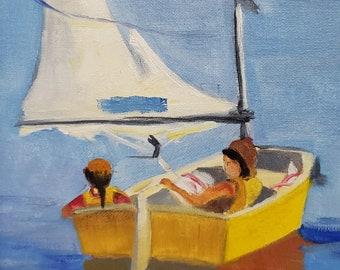 Friends Boating, miniature,oil painting,Barbara Haviland Art