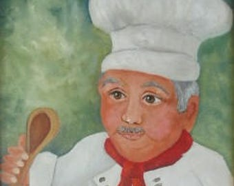 Master Chef, oils on canvas, Barbara Haviland,Texas Artist