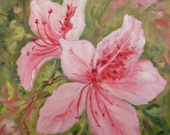 Pink Azalea Flowers  miniature oil painting Barbara Haviland Barbsgarden Texas Artist