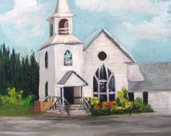 Small White Church, oils canvas Barbara Haviland,Texas Artist