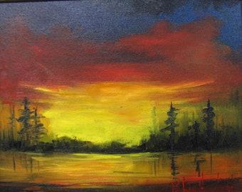 Sunset over the Lake, landscape, oil painting, Barbara Haviland