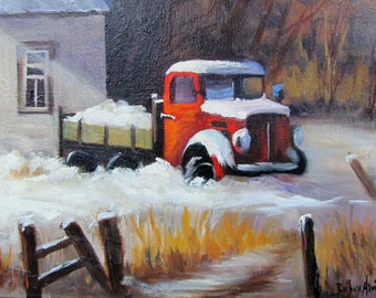 Red Truck in Snow Barbara Haviland Bargsgarden, Texas Artist