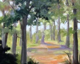 Down the Dirt Path, plein air, landscape, oil painting, Barbara Haviland, Endofyearsale