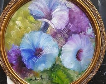 Blue Morning Glories in oval canvas, framed, Barbara Haviland